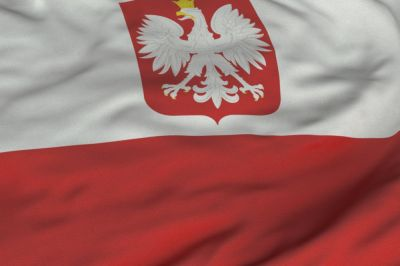 The flag of Poland consists of two horizontal stripes of equal width, the upper one white and the lower one red