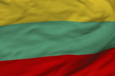 The flag of Lithuania consists of a horizontal tricolor of yellow, green and red