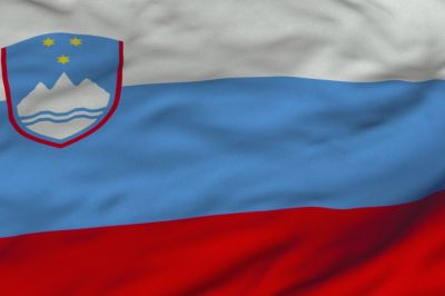 The flag of Slovenia features three equal horizontal bands of white, blue and red