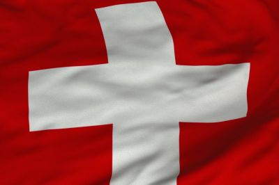 The flag of Switzerland consists of a red flag with a white cross in the centre